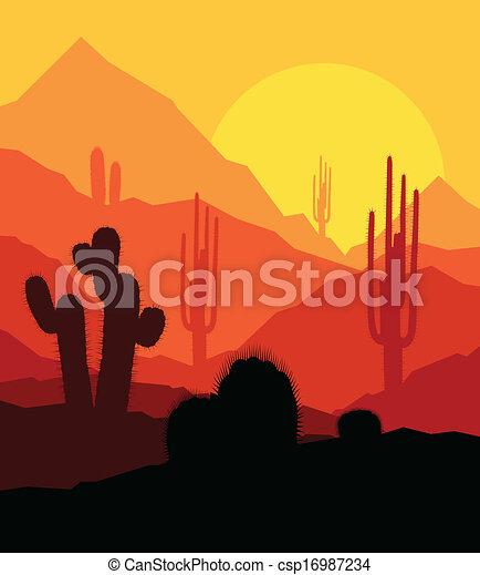 Plantas Cactus en el desierto vector de fondo vector del atardecer - csp16987234