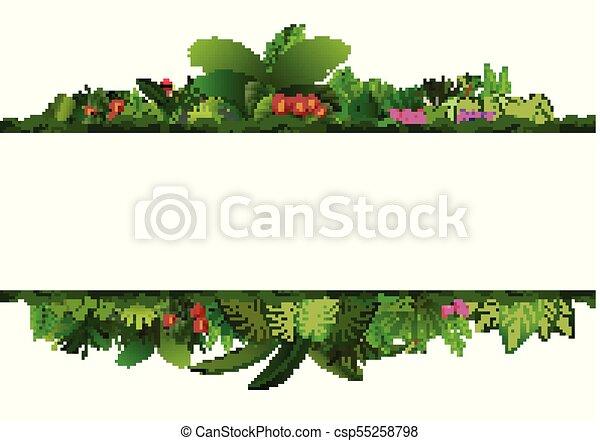plante, espace, feuilles, text., exotique, arrière-plan., feuillage, horizontal, bannière, cadre, rectangle - csp55258798