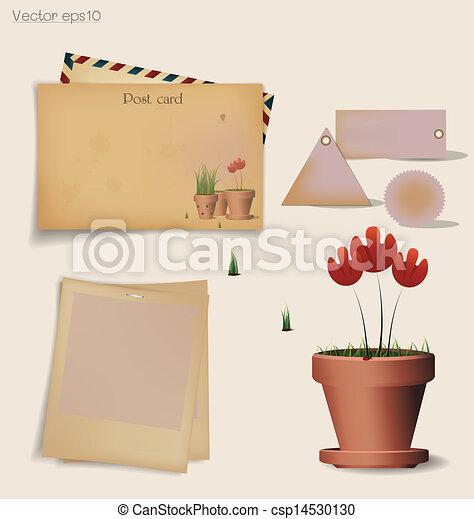 plante, fleur, illustration., carte postale, vendange, enveloppe, pot., vecteur, argile, rouges - csp14530130