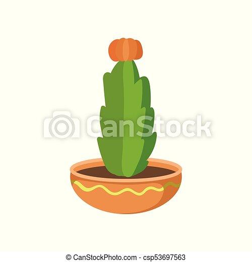 Plante Fleur Pot Fleurs Illustration Vecteur Maison Cactus Dessin Animé Rouges