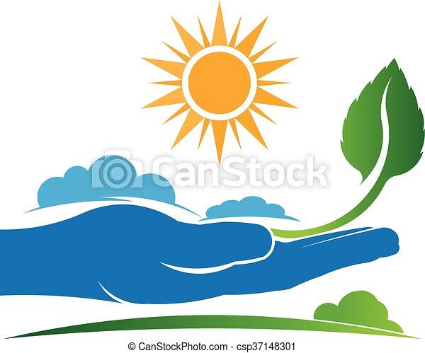 plante, graphique, nature, vecteur, conception, sauver, logo. - csp37148301
