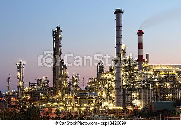 plante, huile, essence, industrie, -, usine, raffinerie, pétrochimique, crépuscule - csp13426699