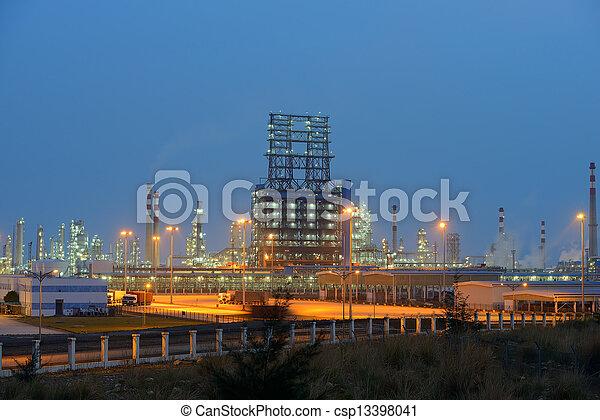 plante, industriel, industrie, raffinerie, chaudière, nuit - csp13398041