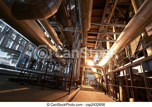 plante, industriel, puissance, intérieur, moderne, équipement, tuyauterie, trouvé, câbles - csp2432656