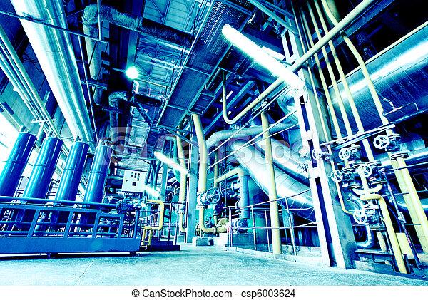 plante, industriel, puissance, intérieur, moderne, équipement, tuyauterie, trouvé, câbles - csp6003624