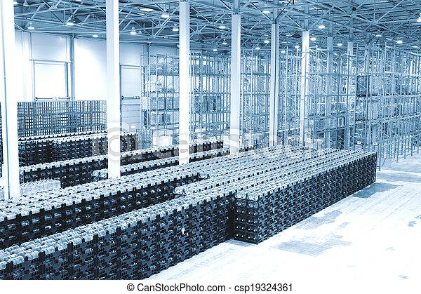 plante, marchandises, eau minérale, fini, production, entrepôt - csp19324361