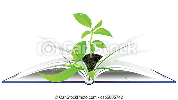 plante verte livre ouvert jeune illustration vectorielle rechercher des clipart des. Black Bedroom Furniture Sets. Home Design Ideas