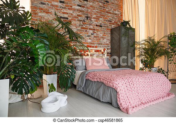 Planten, slaapkamer. Planten, muur, moderne, bed,... stockbeeld ...