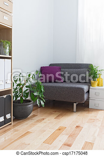 Planten, woonkamer, grijs, leunstoel, hoek. Woonkamer, leunstoel ...