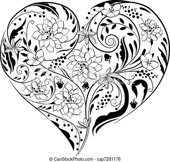 planterar, hjärta gestalta, svart, vita blommar - csp7291176