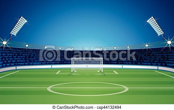 Planta de fondo vacía con estadio de fútbol - csp44132494