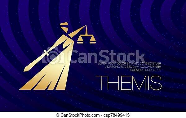 plantilla, goddess., silueta, dorado, themis, página, legal, aterrizaje - csp78499415