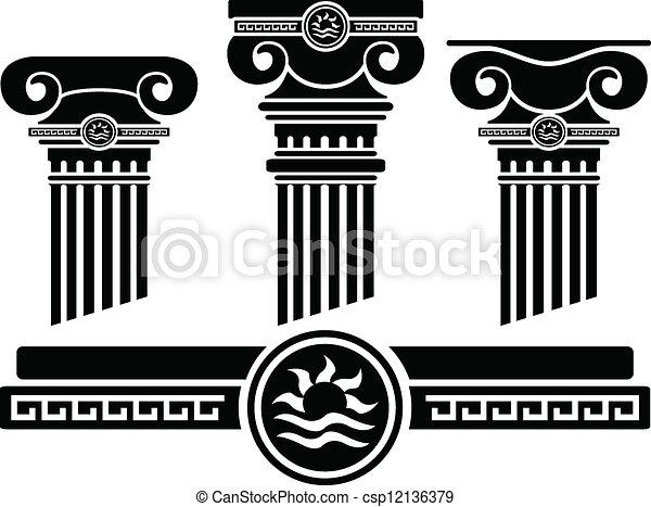 Columnas iónicas y patrones. Stencil - csp12136379
