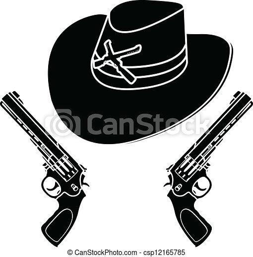 Sombrero de vaquero. Stencil - csp12165785