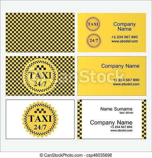 Plantillas, conjunto, empresa / negocio, taxi., tarjetas, elegante.