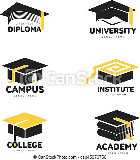 Gráfico, blanco y negro académico, plantillas de capó de graduación - csp45376756