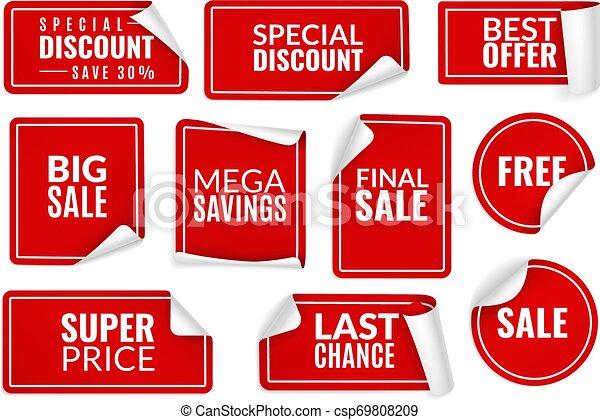 Calcomanías rojas enroscadas. Envuelto en calcomanía de papel, etiquetas de precios que venden pancartas dobladas. Publicidad de placas vector de plantillas - csp69808209