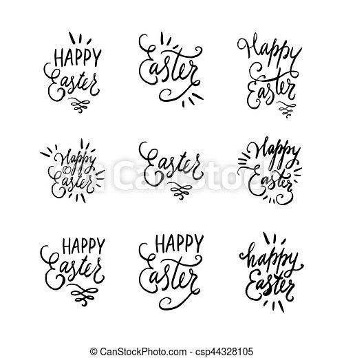 Plantillas Letras Remolinos Huevos Citas Frases Set Aislado