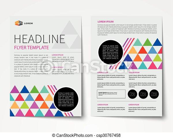 Un conjunto de portada de revista de negocios, folleto, plantillas de diseño plano - csp30767458
