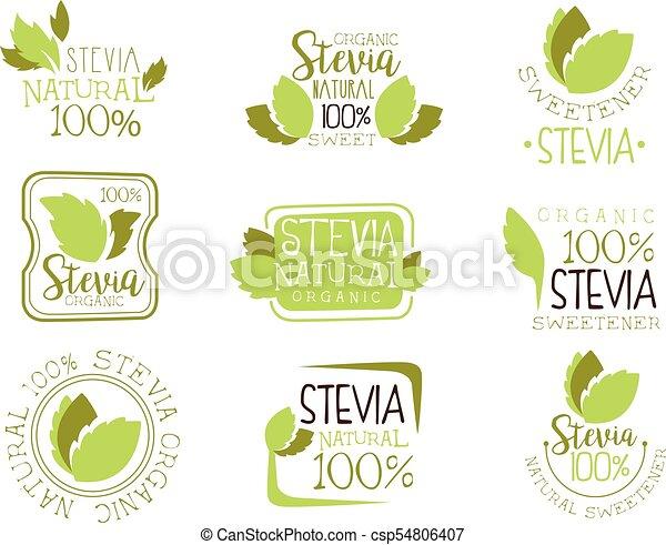 plantillas, planta, conjunto, natural, aditivo, alimento, hojas, stevia,  azúcar, apariencia el diseño, logotipo, verde, edulcorante, substituto