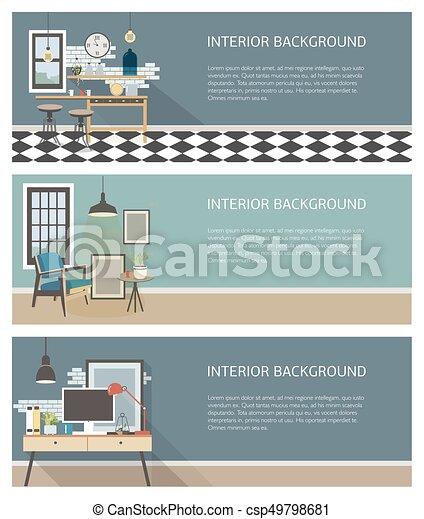 Estandartes interiores modernos. Cocina, sala de estar, lugar de trabajo al estilo loft. Colorido vector plano plantilla horizontal con lugar para el texto - csp49798681