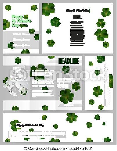 Plantillas, tréboles, conjunto, presentación negocio, booklet ...