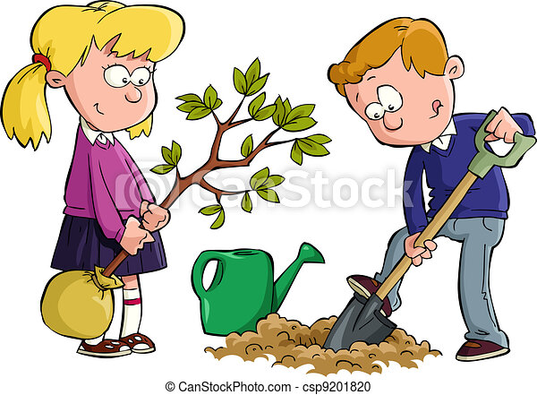 planting a tree the children planted a tree vector illustration rh canstockphoto com plant clipart black and white plant clipart