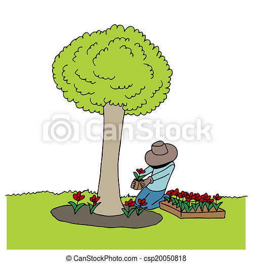 an image of man planting flowers under a tree vector clip art rh canstockphoto com clipart planting flowers clipart planting trees