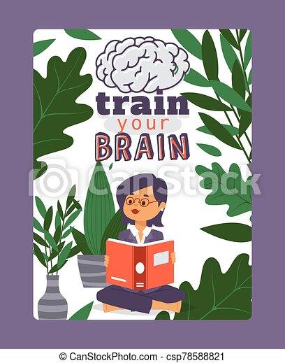 plants., de motivación, vector, lee, concept., letras, niña, cerebro, su, libro, cita, educación, lectura, tren, ilustración - csp78588821