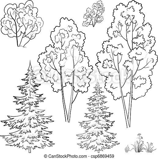 Plants, set, outline - csp6869459