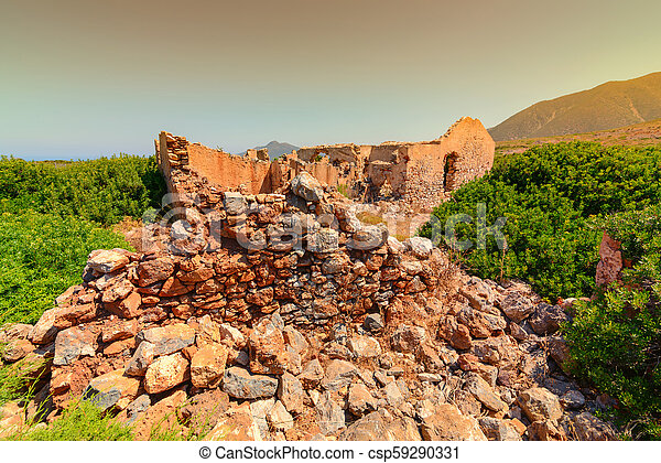 planu, especialmente, buggerru, mine., orilla, paisaje, henry, ruinas, sartu - csp59290331