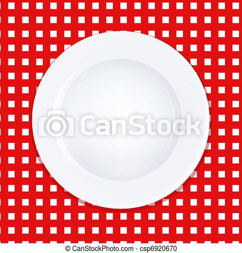 plaque, blanc, checkered nappe - csp6920670