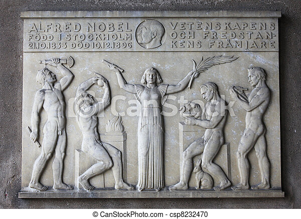 Plaque for Alfred Nobel in Stockholm - csp8232470