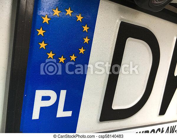plaque, gros plan, illustrer, symboles, county's, enregistrement, polonais, européen - csp58140483
