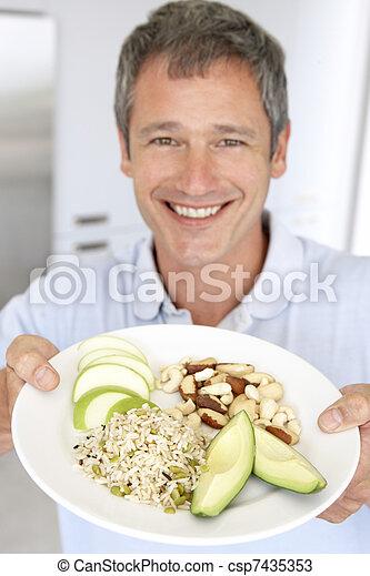 plaque, sain, mi, nourriture, adulte, tenue, homme - csp7435353