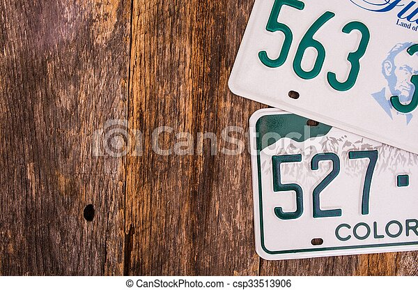 plaques, américain, licence - csp33513906