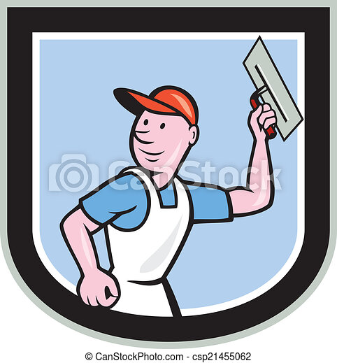 plasterer masonry worker shield cartoon illustration of a clip rh canstockphoto com masonic clipart free masonic clipart free