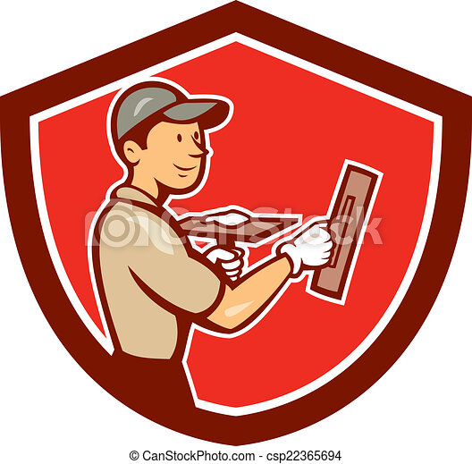 plasterer masonry worker shield cartoon illustration of a eps rh canstockphoto com masonic clipart masonic clipart