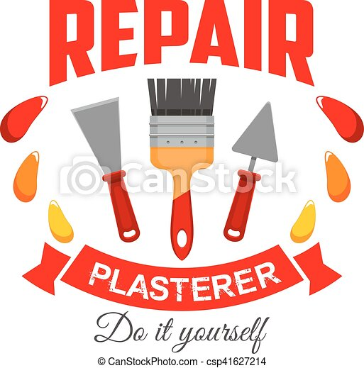 Plasterer pepair badge sign with work tool icon - csp41627214