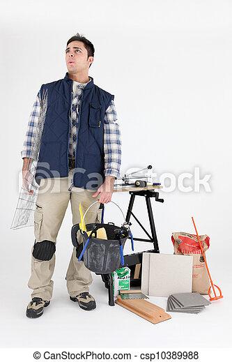 Plasterer ready for days work - csp10389988
