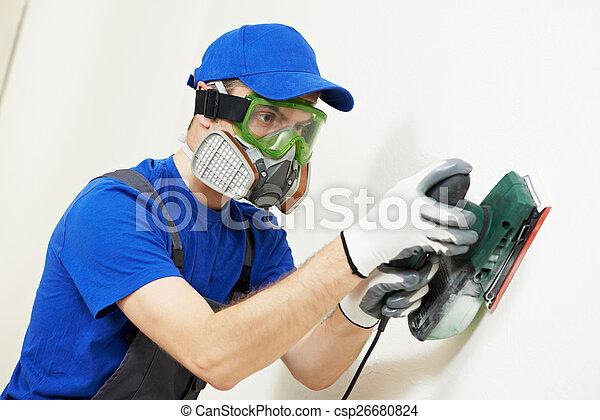 plasterer worker with sander at wall filling - csp26680824