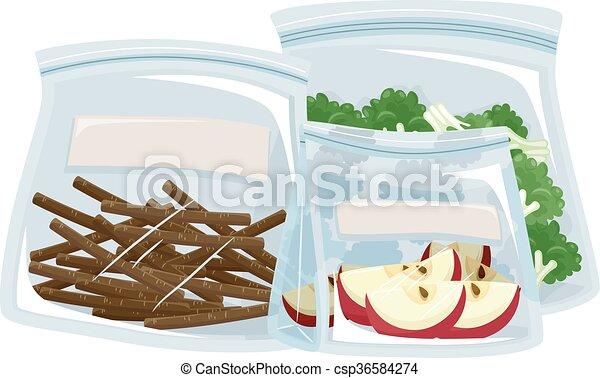 Plastic Bag Container Food - csp36584274