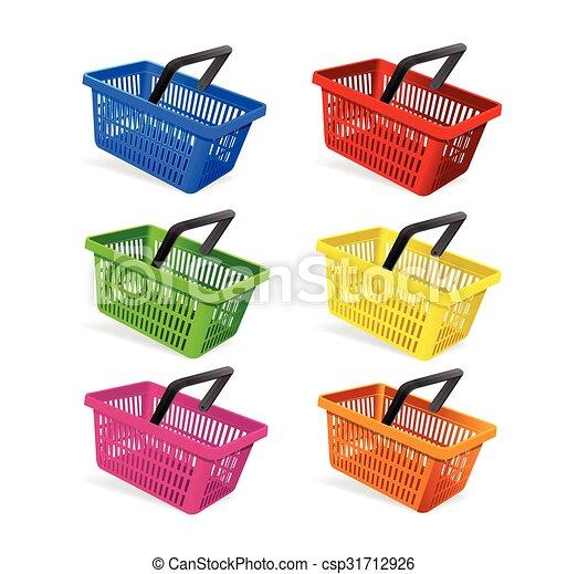 Plastic Basket Set. Vector - csp31712926