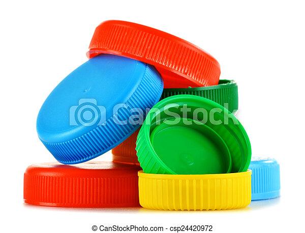 Plastic bottle caps isolated on white - csp24420972