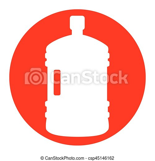 Plastic bottle silhouette sign. Vector. White icon in red circle on white background. Isolated. - csp45146162