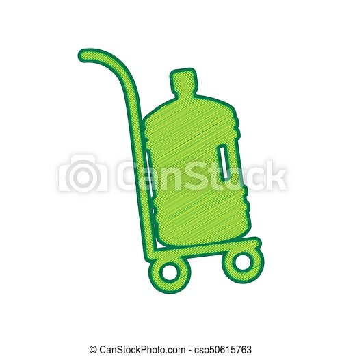 Plastic bottle silhouette with water. Big bottle of water on track. Vector. Lemon scribble icon on white background. Isolated - csp50615763