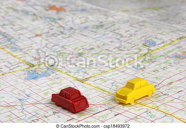 Plastic Cars Intersecting On Map - csp18493972