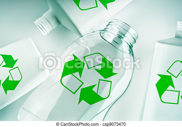 plastic containers with recycle symbol - csp9073470