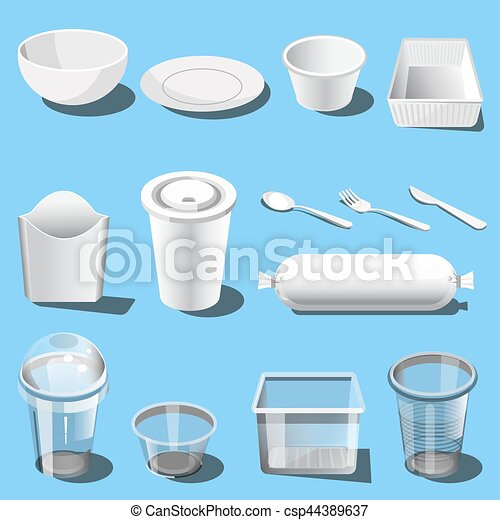 Plastic Dishware Disposable Tableware Vector Icons  sc 1 st  Can Stock Photo & Plastic dishware disposable tableware vector icons. Plastic dishware ...