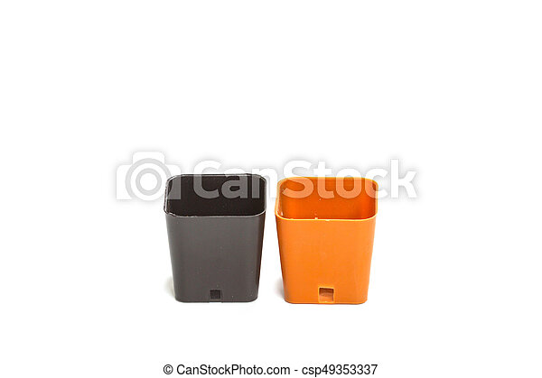 plastic flower pot isolated on white background - csp49353337